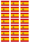 Spain Flag Stickers - 21 per sheet